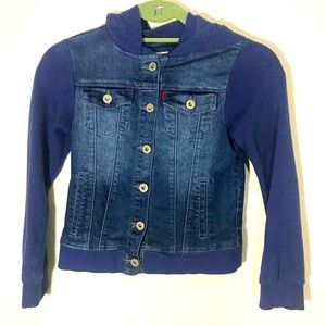 Levi's Kids Denim Jean Jacket Hooded Blue Sz M